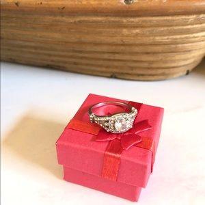 Vintage Look CZ & Rhodium Engagement Style Ring